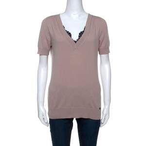 Gucci Dusky Pink Cashmere Knit Lace Trim V-Neck Top L
