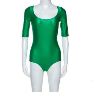Gucci Green Shiny Jersey Bodysuit S