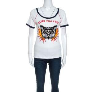 Gucci White Cotton Cat Applique Detail Blind For Love T-shirt S