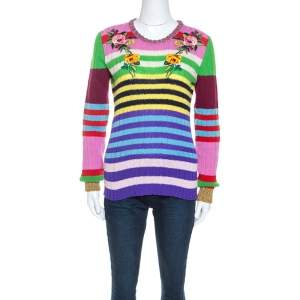 Gucci Multicolor Striped Cashmere Blend Applique Detail Sweater M