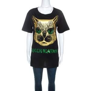 Gucci Black Cat Print Sequin Detail Guccification T-Shirt XS