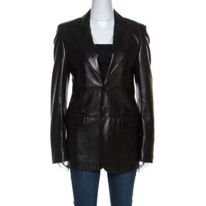 Gucci Black Leather Blazer M