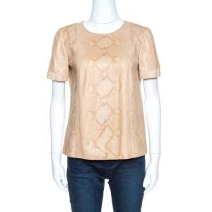 Gucci Beige Python Leather Blouse M