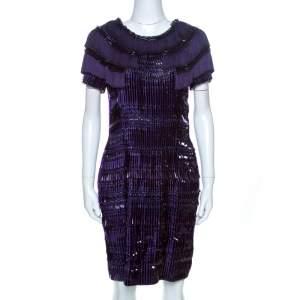 Gucci Purple Silk Embellished Fringe Detail Dress M