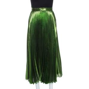 Gucci Green Metallic Plisse Silk Pleated Midi Skirt M