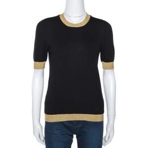 Gucci Black Cashmere Knit Lurex Trim Top M