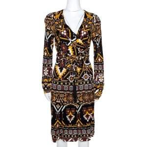 Gucci Multicolor Geometric Print Jersey Front Tie Detail Dress L