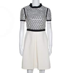 Gucci Cream Silk Crystal Embellished Flared Dress S