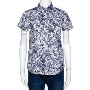 Gucci Purple Floral Print Cotton Short Sleeve Shirt S