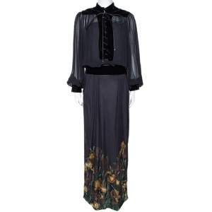 Gucci Black Iris Print Silk Velvet Trim Maxi Dress M