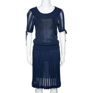 Gucci Navy Blue Perforated Knit Pleated Midi Dress XS