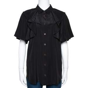 Gucci Black Silk Ruffled Button Front Blouse M