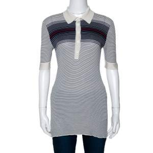 Gucci Cream & Navy Striped Silk Knit Polo Top M