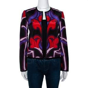 Gucci Multicolor Art Nouveau Floral Print Silk Jacket S