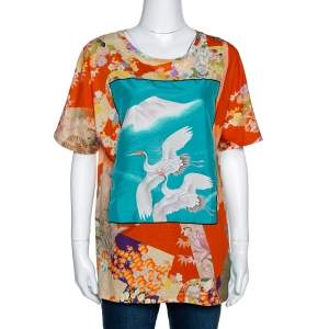 Gucci Orange & Teal Floral Bird Print T Shirt XL