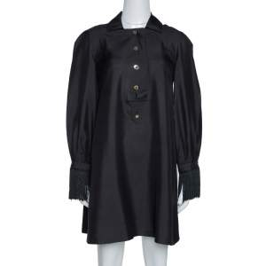 Gucci Black Raw Silk Fringe Detail Long Sleeve Tunic Dress M
