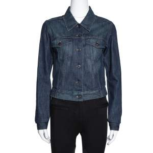 Gucci Dark Blue Denim Elasticized Waist Cropped Jacket S
