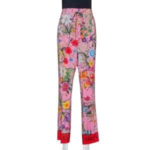 Gucci Pink Snake Flora Print Silk Straight Leg Trousers L