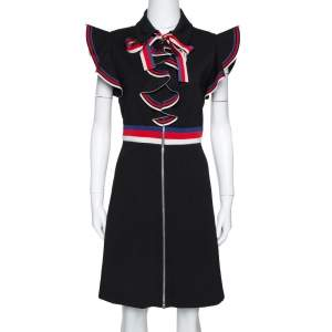 Gucci Black Stretch Jersey Sylvie Web Trim Ruffled Dress XL