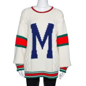 Gucci Off White Wool Knit Letter 'M' DIY Unisex Sweater M