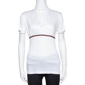 Gucci White Modal Web Trim Gathered Top M