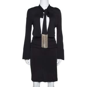 Gucci Black Jersey Chain Tie Detail Knee Length Dress L