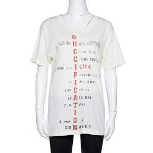 Gucci Cream Cotton Guccification Print Oversized T Shirt XS