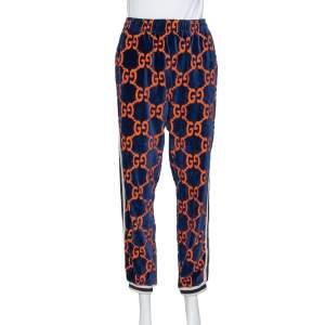 Gucci Blue & Orange Chenille GG Logo Track Pants M