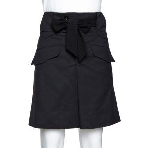 Gucci Black Mohair Wool Blend Tie Front A-Line Skirt M