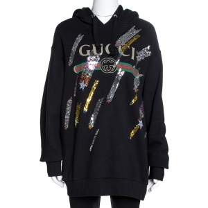 Gucci Black Logo Print Cotton Star Sequin Embellished Sweatshirt M