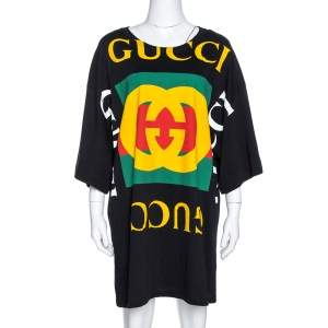 Gucci Black Cotton Logo Print Oversized T Shirt Dress S
