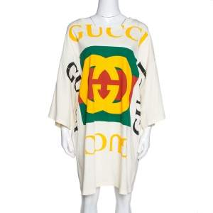 Gucci Cream Cotton Logo Print Oversized T Shirt Dress S