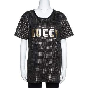 Gucci Black & Gold Star Print 'Guccy' Crew Neck T Shirt S