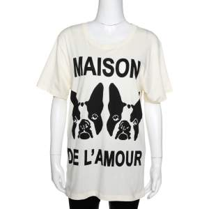 Gucci Buttercream Cotton Maison De L'amour Sequined T-Shirt XS