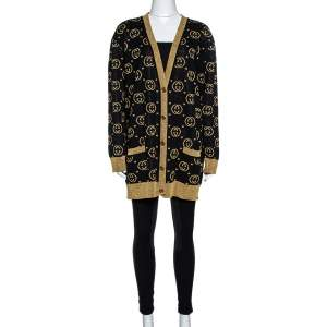 Gucci Black & Gold Lamé GG Supreme Cardigan M