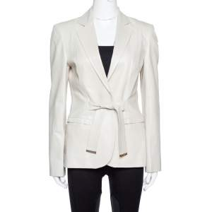 Gucci Pale Beige Leather Tie Front Blazer M
