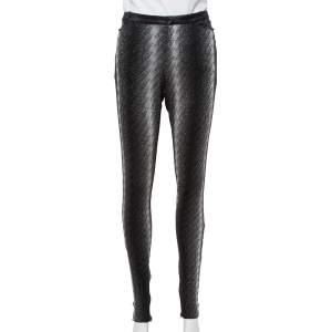 Gucci Metallic Argyle Patterned Lurex Knit Skinny Pants M