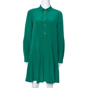 Gucci Green Silk Crepe Pleated Long Sleeve Dress M