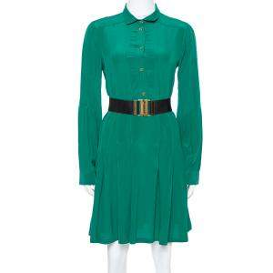 Gucci Green Silk Crepe Belted Shirt Dress M