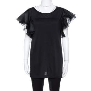 Gucci Black Jersey and Silk Ruffled Sleeve Top M