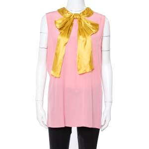 Gucci Pink Silk Contrast Pussy Bow Sleeveless Blouse M