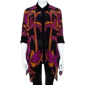 Gucci Multicolor Printed Silk Oversized Blouse M