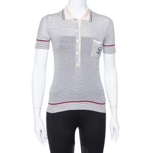 Gucci Cream Striped Silk Knit Polo T-Shirt S