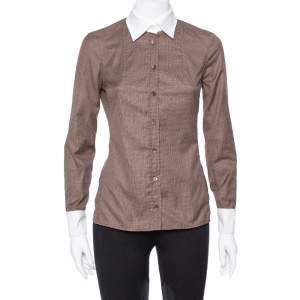 Gucci Brown Cotton Contrast Collar Long Sleeve Shirt S