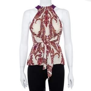 Gucci Cream Floral Print Silk Halter Neck Blouse S
