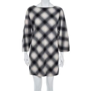 Gucci Cream & Black Checked Wool Shift Dress M