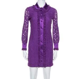 Gucci Purple Lace Cotton Satin Trim Detail Shirt Dress XS