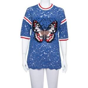 Gucci Blue Floral Lace Butterfly Applique Detail top XL