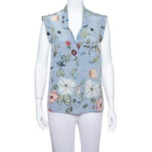 Gucci Blue 'Flora' by Kris Knight Printed Sleeveless Silk Shirt M