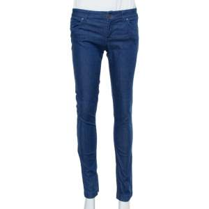 Gucci Navy Blue Stretchable Denim Leggings S